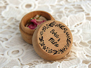 Prstene - Mini krabička na obrúčky venček III - 11030314_