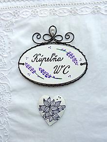 Tabuľky - kúpeľňa s WC...tabuľka - levanduľa - 11029594_