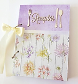 Papiernictvo - Receptár fialový s kvetmi  - 11029385_
