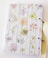 Papiernictvo - Receptár fialový s kvetmi  - 11029386_