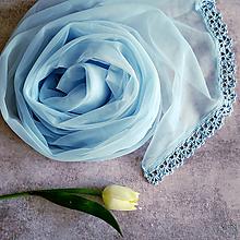 Šály - Po modrém blankytu - průhledný šál s čipkou - 11030694_