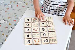 Hračky - Drevené pexeso Čísla a množstvá - 11029628_