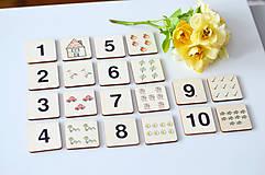 Hračky - Drevené pexeso Čísla a množstvá - 11029631_
