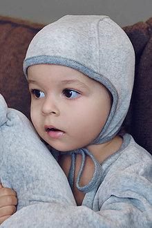 Detské čiapky - BEJBY čapička šedá (biobavlna GOTS) - 11030542_