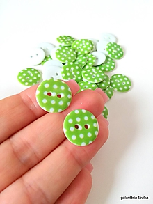 Galantéria - plastový gombík zelený s bodkami 15mm - 11030708_