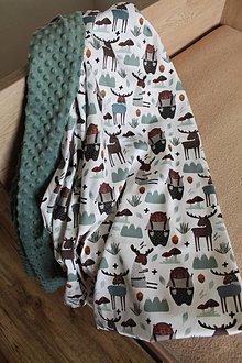 Textil - Minky deka Medveď a los, viac farieb na výber, 100x70cm - 11031786_