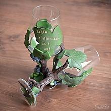 Nádoby - Spoločná cesta viničovým hájom - sada svadobných pohárov na červené víno - 11031087_