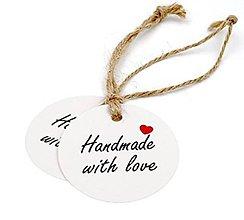 Papier - VI130 Visačka Handmade with love 3 cm (biela) - 11030406_