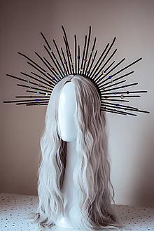 """Ozdoby do vlasov - Čierna čelenka """"Halo crown"""" s kameňmi - 11030497_"""
