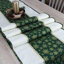 Úžitkový textil - KORNÉLIA - Zlaté vločky na zelenej s bodkami   - stredový obrus - 11029668_