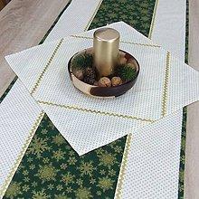 Úžitkový textil - KORNÉLIA(1) - Zlaté vločky na zelenej s bodkami - štvorcový obrus 40x40 - 11029867_