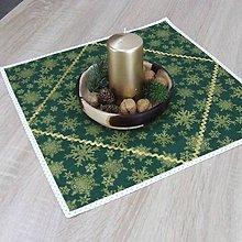 Úžitkový textil - KORNÉLIA(2) - Zlaté vločky na zelenej s bodkami - štvorcový obrus 40x40 - 11031222_