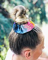 Ozdoby do vlasov - Elastická bavlnená gumička scrunchie color Grid - 11031465_
