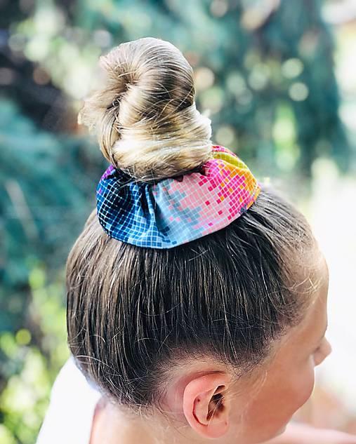 Elastická bavlnená gumička scrunchie color Grid