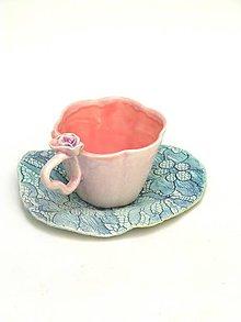 Nádoby - šalka kvet ružová s tanierikom - 11029810_