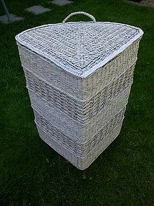 Košíky - Veľký rohový kôš  šedý s vrchnákom na objednávku - 11030923_