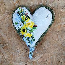 Prstene - Prírodné srdiečko na obrúčky ledené do žlta - 11035766_
