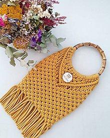 """Kabelky - Makramé kabelka """"Santorini"""" v horčicovej farbe - 11034556_"""