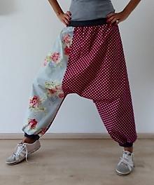 Nohavice - Harémové kalhoty KVĚTY a PUNTÍKY - 11033728_