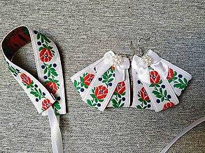 Náušnice - Biele tanculienky + náramok grátis - 11034739_