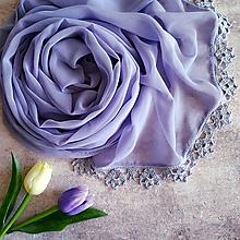 Šály - Zakletá do květů ledových - šifónový šál levanduľa - 11035174_