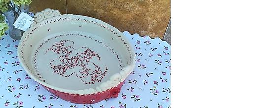Nádoby - Maxi keramický pekáč na kačicu ,chlieb,koláče - červený - 11033202_