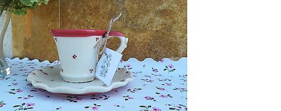 Nádoby - Šálka na kávu + tanierik na dobroty - 11033434_