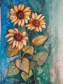 Obrazy - Slnečnice - akvarel - 11035307_