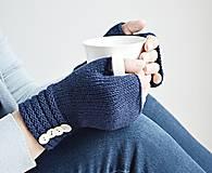 Rukavice - Pletené nátepníčky - modré - 11035098_