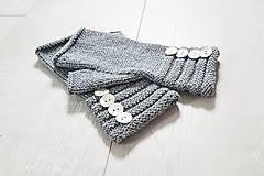 Rukavice - Pletené nátepníčky - modré (Šedá) - 11035111_