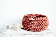 Košíky - Pletený košík - tehlový (Veľ. S) - 11035133_