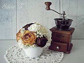 Dekorácie - Kvenináčik v odtieni káva. - 11033096_