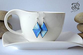 Náušnice - Akvarelové trojuholníky- náušnice M (Modrá) - 11035565_