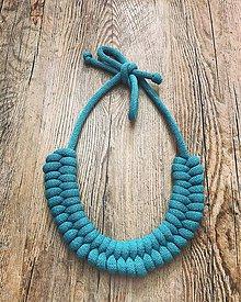 Náhrdelníky - Viazaný náhrdelník - rybí chvost (Tyrkysová) - 11033502_