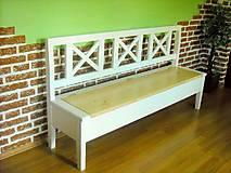 Nábytok - Drevená lavica biela/prírodná - 11032443_