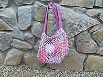 Nákupné tašky - Melírovaná bavlnená sieťovka - ružovo -sivo-biela - 11033807_
