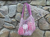 Nákupné tašky - Melírovaná bavlnená sieťovka - ružovo -sivo-biela - 11033808_