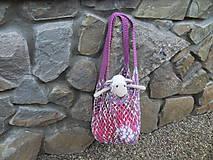 Nákupné tašky - Melírovaná bavlnená sieťovka - ružovo -sivo-biela - 11033812_