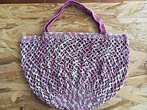 Nákupné tašky - Melírovaná bavlnená sieťovka - ružovo -sivo-biela - 11033817_