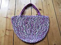 Nákupné tašky - Melírovaná bavlnená sieťovka - ružovo -sivo-biela - 11033821_