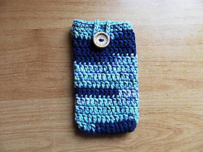 Na mobil - Háčkované púzdro na mobil - modré - 11033960_