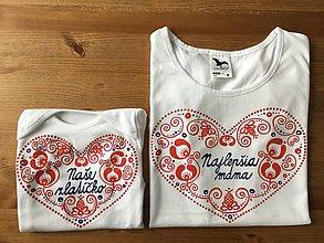 Detské oblečenie - Originálne ľudovo ladené tričko pre malú slečnu (Pre mamku a dcéru (tričko+tričko)) - 11032683_