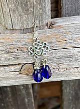 Náušnice - Modré kvapky v starostriebornom - náušnice - 11035157_