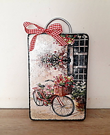 Pomôcky - dekoračný lopárik zátišie s bicyklom - 11034772_