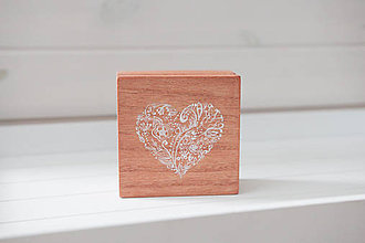 Prstene - Svadobná krabička white heart - 11032238_