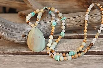 Náhrdelníky - Náhrdelník z minerálov , amazonit, jaspis, jadeit - 11033465_