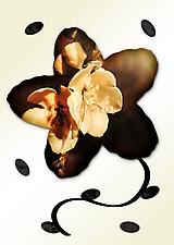 Grafika - Kvety v kvete (karamelová pena) - 11034965_