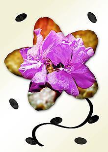 Grafika - Kvety v kvete (čučoriedková pena) - 11034983_