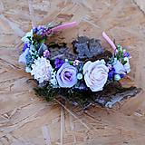 Ozdoby do vlasov - Čelenka z ružičiek a suchých kvietkov, fialovo-ružová - 11036928_