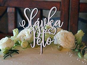 Dekorácie - Zápich na svadobnú tortu so srdiečkom - 11038425_